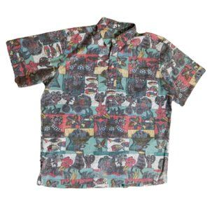African / Island Print Multicolor Button Up Shirt